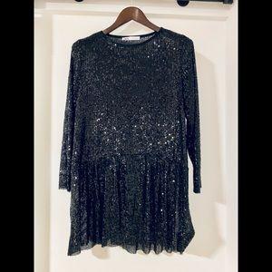 Zara - black sequin mini dress - size small